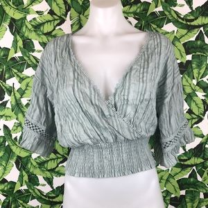 Showpo Mint Crochet Stripe Faux Wrap Crop Top